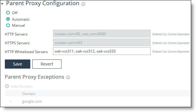 Configuring parent proxy chaining
